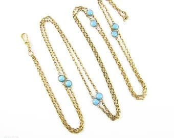 Antique Turquoise Paste Long Guard Chain Necklace. Bezel Set Blue Paste in Gold Tone Chain with Dog Clip. Circa 1870s, 137 cm / 54 inches.