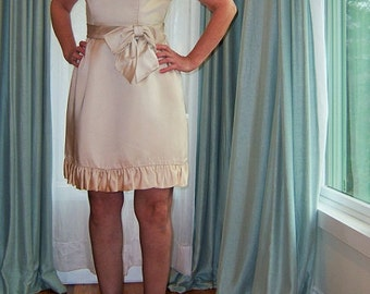 Vintage Champagne Satin 1960's Cocktail Party Dress / Short Ruffles Big Bow Sleeveless New Year's Eve Holiday MadMen Flirty Chic