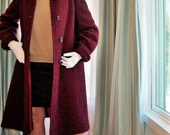 Vintage 1950's Swing Coat Burgundy Boucle by Abernethy's / Christmas Valentine's Day Sweet 3-Season Classic / Dark Red Feminine Tailored