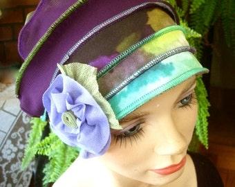 Womens hat chemo hat soft stylish chemo gift cloche flapper hat purple green headcover winter hat summer