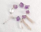 Ametrine bracelet with Sterling Silver fringe and Clear Quartz Crystal dangle | Ametrine Crystal | Amethyst Bracelet | Purple Bracelet