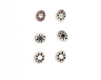 Hand carved earrings // sterling silver studs // swarovski crystals // oval starburst