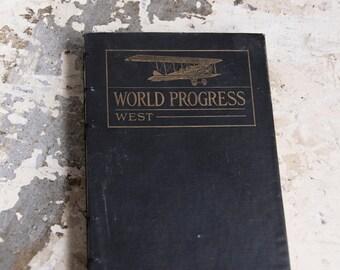 1922 WORLD PROGRESS Vintage Lined Journal Notebook