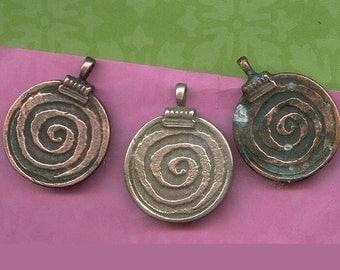 DESTASH 3 Big Primitive Spiral Pendant Disk - Rustic Tribal Etched Green Patina Verdigris - Bold Symbol of Life Force Energies
