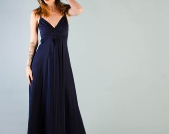 Vintage 1970's Navy Blue Long Backless Dress