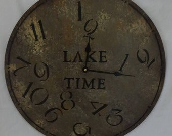 18 Inch LAKE TIME CLOCK in Shades of Gray Highlighted with Charcoal and Jumbled Numbers