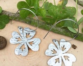 Four leaf clover earrings, metal clover hoop earrings, leaf earrings, foliage