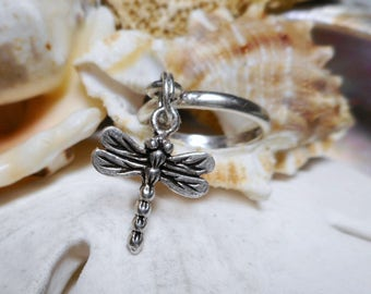 Sterling Silver Dragonfly Dangle Charm Ring Movable 2.29g Size 5