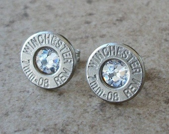 Winchester 7mm-08 Remington Nickel Bullet Earring, Lightweight Thin Cut, Clear/Diamond Swarovski Crystal, Surgical Steel Post - 408