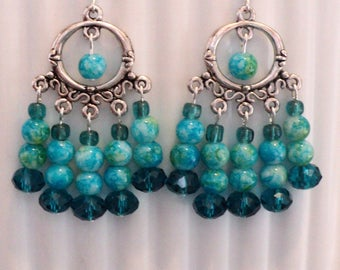 Chandelier Earrings, Prom Earrings, Wedding Earrings, Shabby Chic Earrings, Gypsy Earrings, Turquoise and Green - TROPICAL VACATION