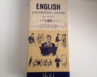 Vocabulary Cards English Language Vis Ed Vintage Word Card Lot Home School Visual Education Association Dayton Ohio