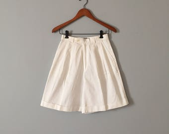 SALE...chalk white cuffed shorts | high waisted shorts
