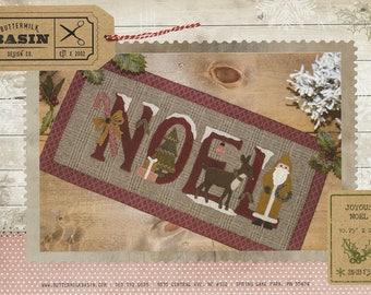 Primitive Folk Art Wool Applique Table Mat Pattern:  JOYOUS NOEL - Design by Stacy West