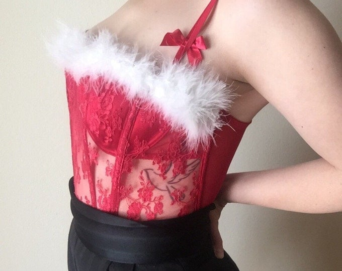 sheer red lace boned FREDERICKS bustier with attached satin bra and white marabou trim 90s vintage valentines day club kid hipster b