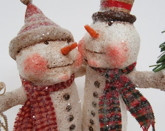 Paper Mache Snowman - Snowman Couple - Folk Art Snowman - Whimsical Snowman