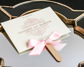 "Blush Pink Ceremony Programs, DIY Fan Program, Blush and Gold Invitation, Outdoor Wedding Ceremony - ""European Scroll"" Fan Program - DEPOSIT"