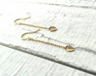 Gold Leaf Earring - long chain dangle - simple minimalist small leaves - delicate fine ear hooks - 14K gold fill option - elegant everyday