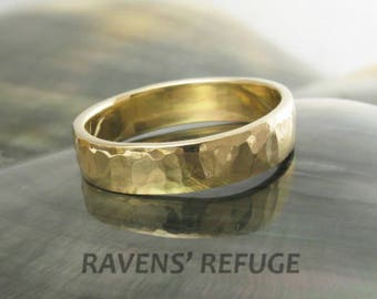 eco friendly unique hammered ring / wedding band for men or women -- 5mm wide in 14k yellow gold, rose gold or white gold