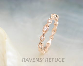 marquise and dot diamond eternity band  -- beaded rose gold ring