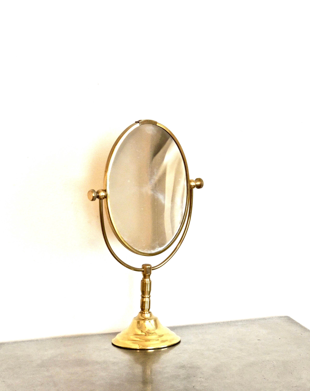 Vintage Standing Vanity Mirror 1950s 60s Brass Rotating