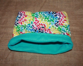 LARGE Rainbow Petal/Light Blue Pocket Pet Pouch- Great for Guinea Pigs, Rats, Rodents, Ferrets and more!