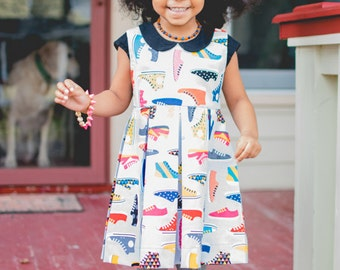 Alice Pleated Dress, PDF Sewing Pattern, peter pan collar, girls pleated dress, girls dress pattern, trendy baby clothes, sewing pattern,