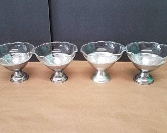 Set of 4 Vintage Aluminum and Glass Sundae Dishes