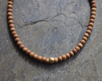 Sandalwood bracelet, yoga sandalwood bracelet, wood beaded bracelet, sandalwood gold bracelet, stacking gold bracelet, layering bracelet