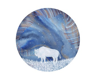 Buffalo Art // Limited Edition Print // Celestial Dreamstate // Nursery Art