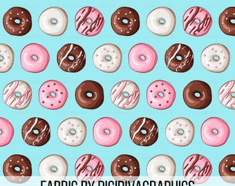Donut Fabric By The Yard - Doughnut Icing Sprinkle Print in Yards & Fat Quarter