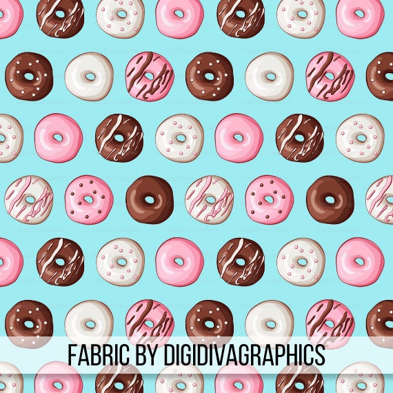 Icing On Fabric: Donut Fabric By The Yard Doughnut Icing Sprinkle Print In