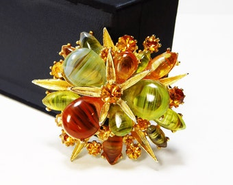 Signed ART Glass Brooch - Citrine Green and Brown Abstract Glass Cabochons - Stacked Layers Goldtone Starfish Accents - Designer Signed ART