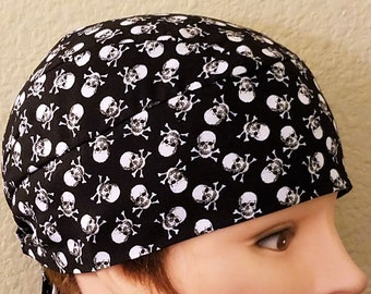 Black Skull Cap w Small White SKULLS Cap, Chemo Cap, Biker, Head Wrap, Helmet Liner, Motorcycle, Bald, Hair Loss, Do Rag, Surgical Cap
