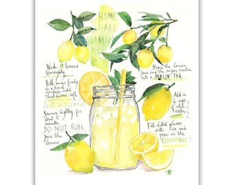 Homemade lemonade recipe print, Kitchen art, Watercolor lemon painting, Summer art print, Yellow kitchen decor, Drink poster, Lemonade party