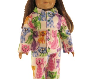 Funky cats kitty cats flannel doll pajamas fits 18 inch dolls like american girl pink cats purple cats green cats