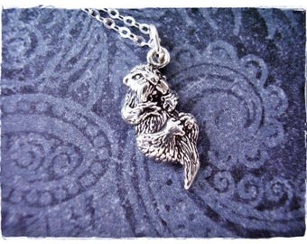 Silver Sea Otter Necklace - Sterling Silver Sea Otter Charm on a Delicate Sterling Silver Cable Chain or Charm Only