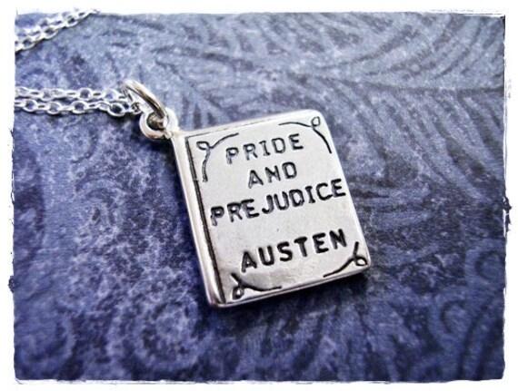 Pride and Prejudice Book Necklace - Sterling Silver Pride and Prejudice Book Charm on a Delicate Sterling Silver Cable Chain or Charm Only