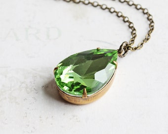 Large (25mm) Spring Green Rhinestone Teardrop Pendant Necklace on Antiqued Brass Chain