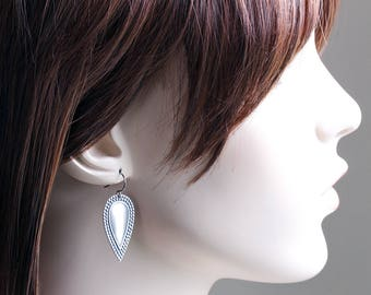 Antiqued Silver Plated Embossed Drop Earrings on Gunmetal Hooks