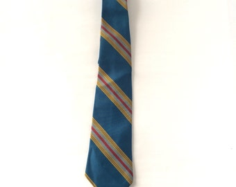 Teal Red and Gold Diagonal Stripe Neck Tie 50s 60s Vintage Mens Dacron 4 Four Inch Wide Collegiate Preppy