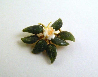 Jade and Coral Swoboda Brooch