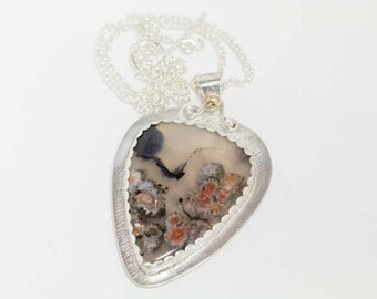 Orange White Floral Plume Agate Pendant in Sterling Silver plus 14K gold ball Handcrafted