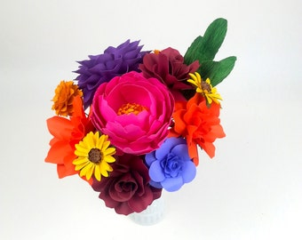 Table Decoration - MIX of 12 Flowers - Handmade Paper Flowers - On stems - Made to Order - Customize your style and colors