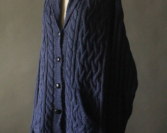 Vintage 90's Navy Blue Alpaca and Merino Wool Cable Knit Button Up Fishermans Cardigan Sweater by Aran Crafts, size XXL