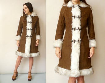 1970's Vintage Afghan Penny Lane Princess Style Festival Coat With Faux Fur Trim & Hood Size Small