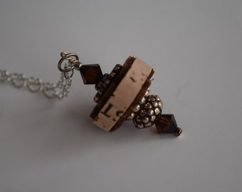 Wine Cork Pendant Necklace with Mocha and Silver Accents- Recycled Wine Cork