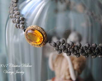 Bijou--Antique Victorian Amber Glass Brooch Vintage Granulation Chain Link NECKLACE