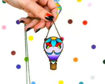 hand painted laser wood cut colorful hot air balloon statement necklace / 18 in brass chain / whimsical adventure wanderlust