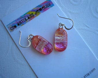 Dichroic Earrings Hot Pink with Silver and Tangerine Bold Colors Fused Glass Earrings Pierced Earrings Boho Sparkle Glass Dichroic Jewelry