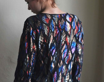 Shimmering 80s blouse with Colorful geometric ornaments size M